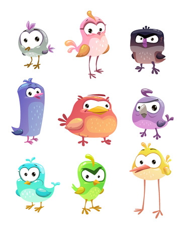 Funny cartoon standing birds set on white background. Vector cute comic bird characters. Illustration