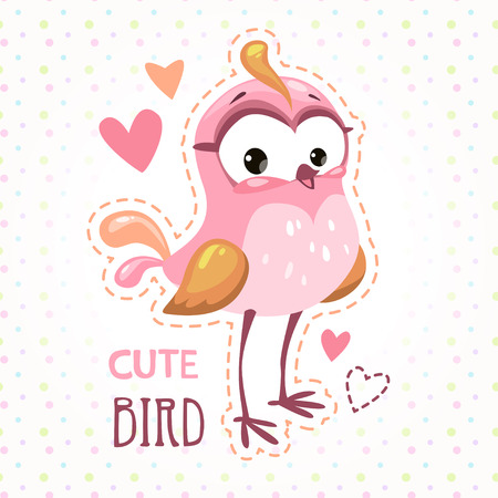girlish: Cute girlish t shirt print template with funny pink bird. Childish illustration.