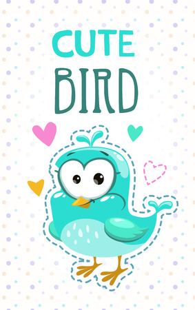 girlish: Cute girlish t shirt print template with funny blue bird. Vector childish illustration.