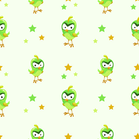 foolish: Funny texture with comic green bird and stars. Childish vector seamless pattern for wallpaper design.