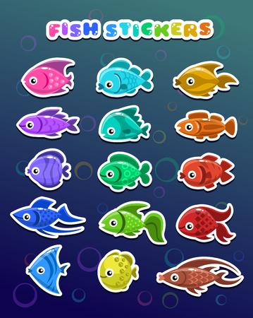 colorful fish: Funny colorful fish stickers, aquarium flat icons set. Illustration