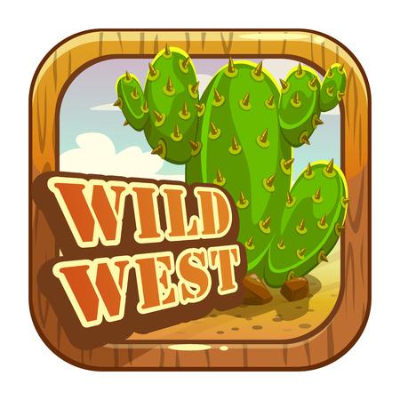 Icono de la aplicación de dibujos animados con atributos de salvaje oeste. Plantilla de elemento de tienda de aplicaciones. Vector activo para el juego o diseño web. Ilustración de vector