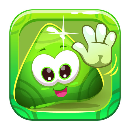 slimy: App icon with funny cute green triangle greeting slimy character. Vector game asset. Illustration