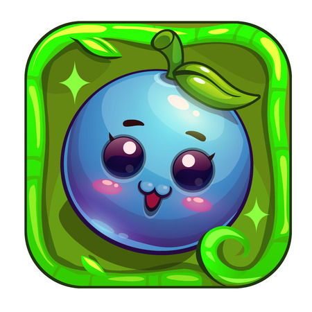 character design: Cartoon app icon with funny blueberry character. Application store item template. Vector asset for game or web design.