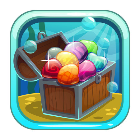 market bottom: Cartoon app icon with treasure chest on the sea bottom. Application store item template. Vector asset for game or web design.