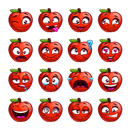 emotion: Funny cartoon apple character with different emotions on the face. Comic emoticon stickers set. Vector icons, isolated on white.