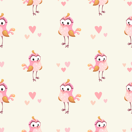 girlish: Cute girlish seamless pattern with funny cartoon pink girl bird. Vector texture.