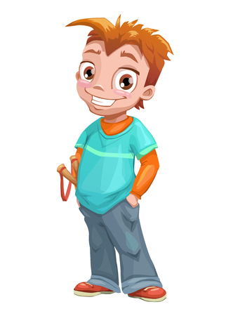 slingshot: Funny standing red haired boy with slingshot. Vector kid illustration. Isolated on white