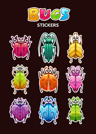 Funny cartoon style bugs stickers collection on dark background. Comic beetle icons set. Vector colorful insects, game assets.