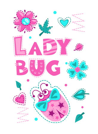 Print design: Cute vector girlish illustration with funny ladybug. Pretty vector template for girls t shirt print design. Ladybug art. Illustration