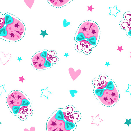 Girlish seamless pattern with cute ladybugs, stars and hearts on white background. Vector texture for baby textile print. Illustration
