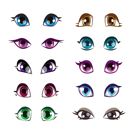 pretty eyes: Cartoon girls eyes set. Vector girlish eye, face elements, isolated on white.