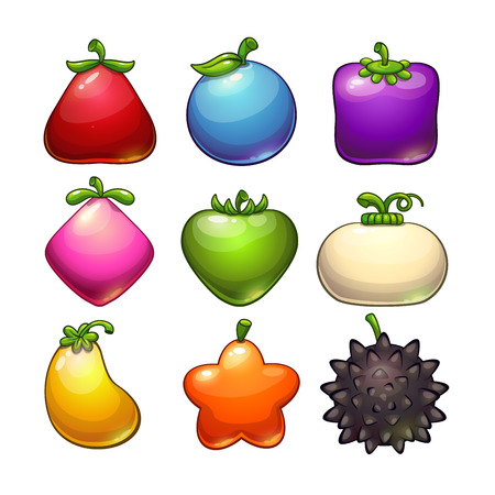 Cartoon colorful fantasy glossy plants, isolated on white. Cute vector fantastic fruits icons. Game assets with different shapes and colors.