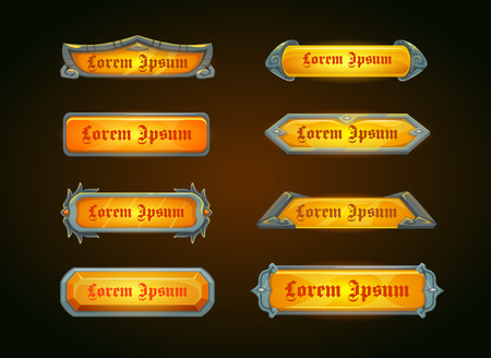 assets: Shiny horizontal orange game templates on dark background, vector game assets for epic GUI Illustration