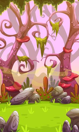 illustration and cool: Fantasy cartoon forest landscape. Vertical nature background for mobile phone screen. Cool colorful outdoor illustration. Level location for game design. Illustration