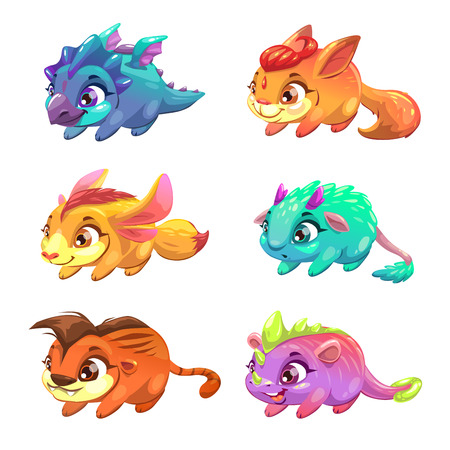 animals collection: Set of cute cartoon little monsters. Fantasy animals collection. Vector comic pet icons, isolated on white.