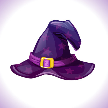 hag: Cartoon witch hat icon. Isolated on white background. Element of wizard costume. Vector Halloween illustration.