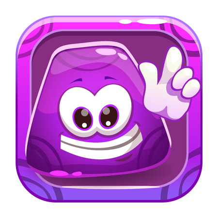 Jelly: App icon with funny cute purple jelly character. Vector cartoon asset for application store game  design.