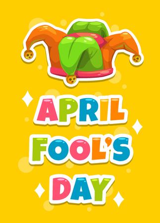 tonto: Tarjeta de felicitación del día de los Inocentes s. ilustración de dibujos animados divertido con el sombrero y el lema del bufón s sobre fondo amarillo. Bandera del vector con el casquillo Joker s.