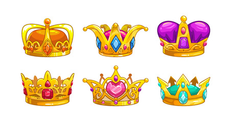 Cartoon royal crown icons set. Vector king, queen, prince, princess attributes. Isolated on white background. Decorative assets for game design.