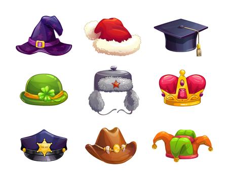 Zestaw ikon różnych kapelusz kreskówka. Kolekcja czapki wektor, na białym tle.
