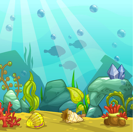 Cartoon underwater vector illustration. Undersea world. Ocean bottom with sand, shells, stones and sea weeds. Aquarium background for game design. Illustration
