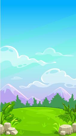 Bella montagna prato paesaggio. Vector cartoon illustrazione all'aperto. Priorità bassa di giorno pieno di sole per la progettazione del gioco. design verticale per lo schermo del telefono mobile.