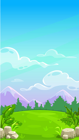 Beautiful mountain meadow landscape. Vector cartoon outdoor illustration. Sunny day background for game design. Vertical design for mobile phone screen.