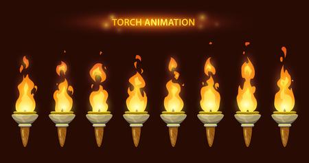 Cartoon torch animation. Illustration