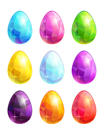 Colorful crystal eggs set.