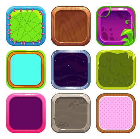metal parts: Funny cartoon square frames for app icons design.