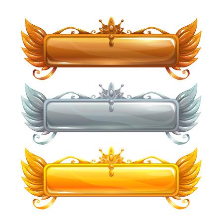 Banderas del título del vector de la historieta fijadas Ilustración de vector