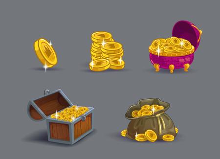 Cartoon golden coins icons set.