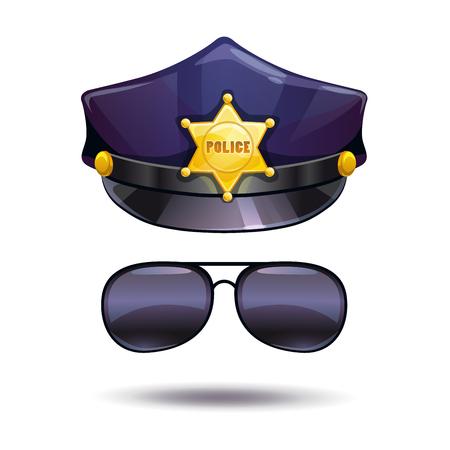 cops: Cartoon police cap and cops sunglasses.