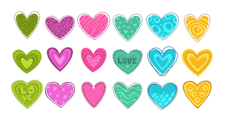 girlish: Colorful hearts patch set.