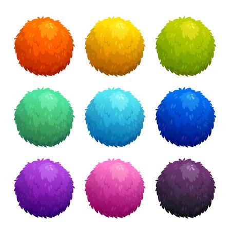 Colorful cartoon furry balls. Vector Illustration