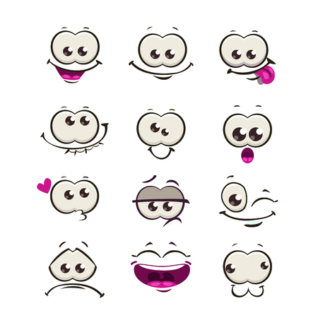 Funny cartoon comic faces Illustration