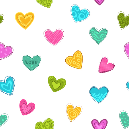 nice girl: Cute seamless pattern with decorative colorful hearts Illustration