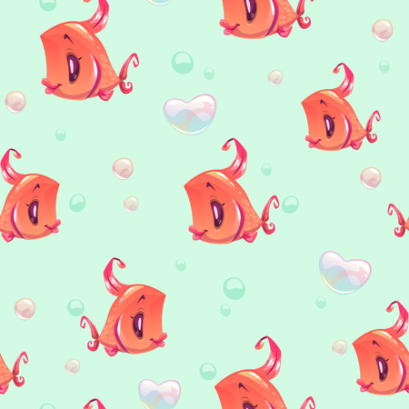 Seamless pattern with funny red girl fishes Illustration