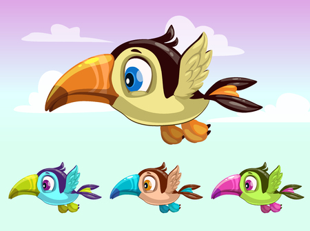 ions: Cute cartoon little flying bird. Toucan ions