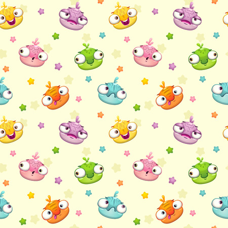 jelly head: Cute seamless pattern with funny monsters.