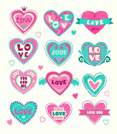 love confession: Cute heart shape labels set.