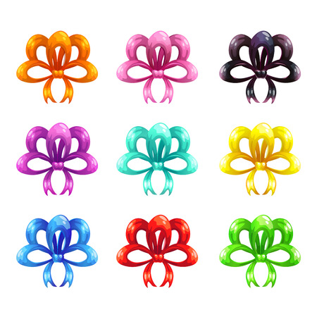 Colorful glossy bows icons set.