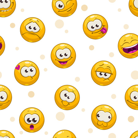 Funny seamless pattern with yellow round faces