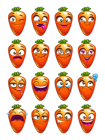 emotion: Cartoon carrot character emotions set.
