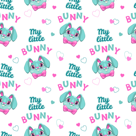 Cut seamless pattern with bunny faces and slogans Illustration