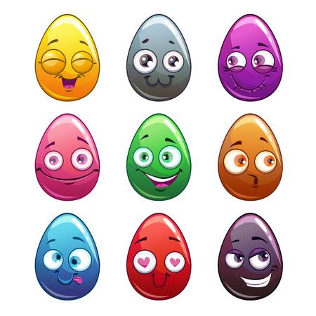 Comic cartoon colorful eggs characters. Illustration