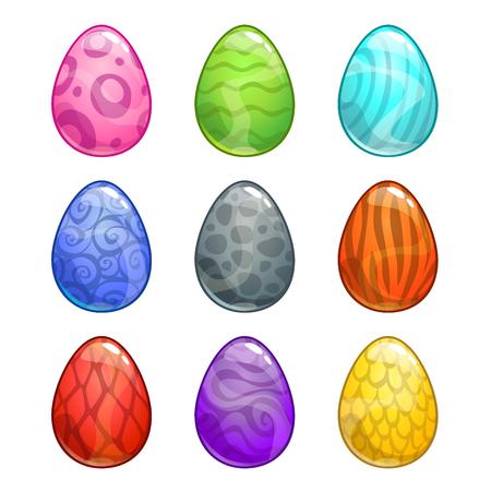 Colorful cartoon eggs set.
