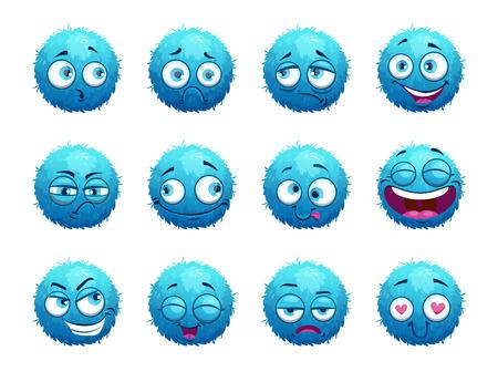 Ensemble de personnages ronds bleus drôles.