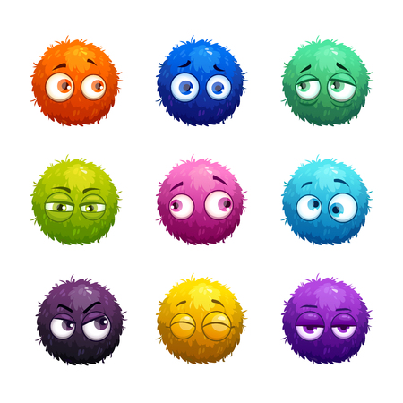 anger kid: Funny cartoon colorful shaggy balls with eyes.